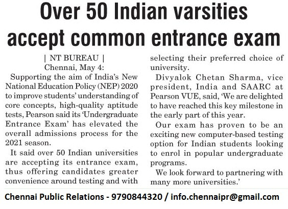 Pearson VUE Undergraduate Exams accepted by 50 Universities